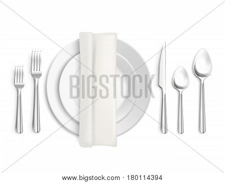 Table appointments top view 3d design with cutlery napkin and plates on white background isolated vector illustration