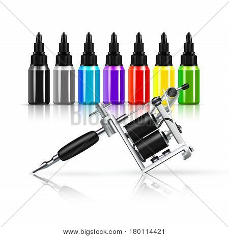 Tattoo machine and row of colored inks in plastic bottles with reflection on white background vector illustration