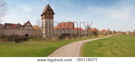 Historic Town Dinkelsbühl With Studwork Houses And Tower