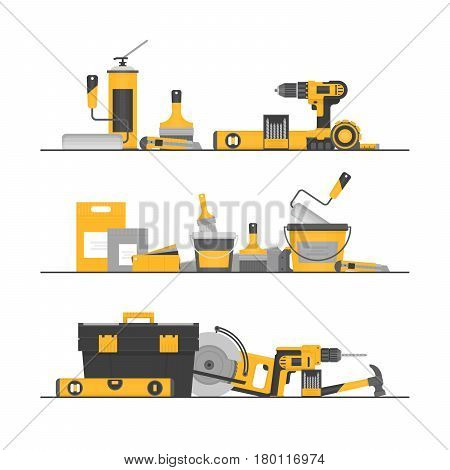 Home Repair. Сonstruction Tools. Hand Tools For Home Renovation And Construction. Flat Style, Vector