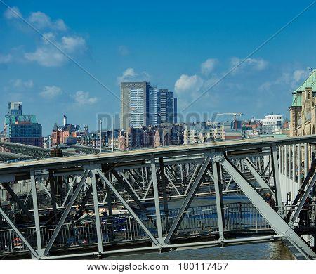 Saint Pauli Landing bridges in Hamburg on the Elbe