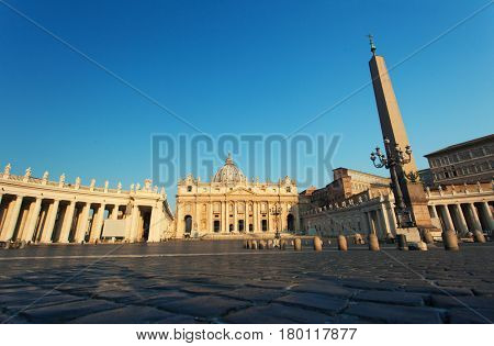 VATICAN CITY, VATICAN - JULY 15: Tourists visiting the Basilica of St. Peter in the Vatican. Rome, Italy on July 15, 2015