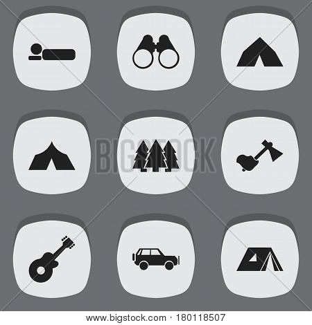 Set Of 9 Editable Camping Icons. Includes Symbols Such As Musical Instrument, Pine, Tepee And More. Can Be Used For Web, Mobile, UI And Infographic Design.