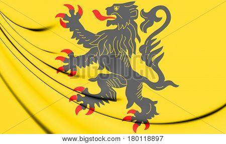 3D Flag Of Nord-pas-de-calais, France.