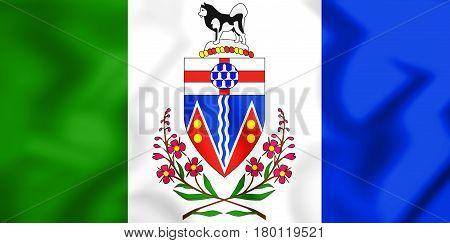 3D Flag Of Yukon, Canada.