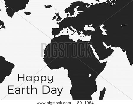 Happy Earth Day. Continents Of Planet Earth On A White Background. Vector Illustration