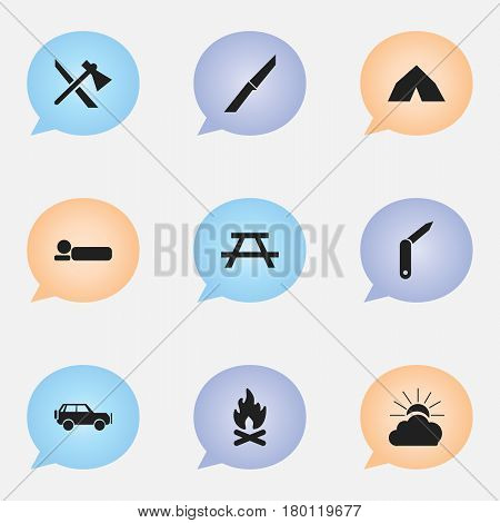 Set Of 9 Editable Travel Icons. Includes Symbols Such As Sport Vehicle, Bedroll, Clasp-Knife And More. Can Be Used For Web, Mobile, UI And Infographic Design.