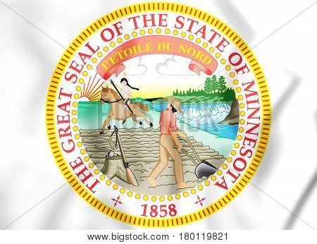 State Seal Of The Minnesota State, Usa. 3D Illustration.