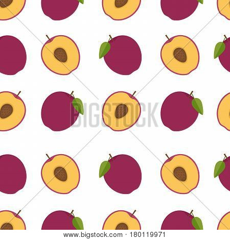 Plum background. Seamless pattern with plums. Flat style. Vector illustration.
