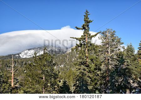 Clouds over the San Jacinto Mountains in Southern California, viewed from the Mountain Station of the Palm Springs Aerial Tramway.