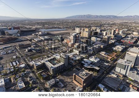 Las Vegas, Nevada, USA - March 13, 2017:  Aerial view of downtown Las Vegas buildings and streets.