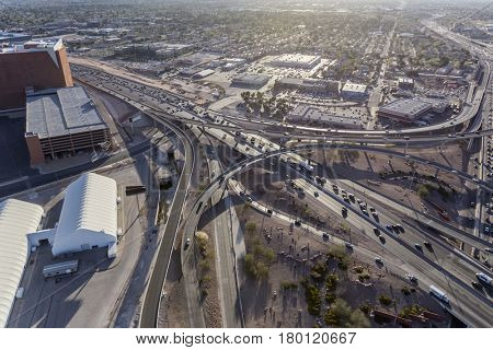 Las Vegas, Nevada, USA - March 13, 2017:  Aerial view of downtown freeway interchange traffic.