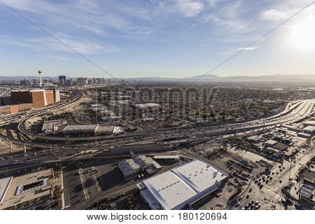 Las Vegas, Nevada, USA - March 13, 2017:  Aerial view of freeways and streets near downtown Las Vegas.