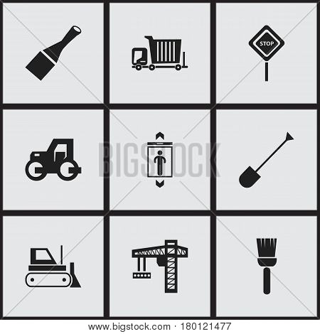 Set Of 9 Editable Building Icons. Includes Symbols Such As Bulldozer, Bogie, Chisel And More. Can Be Used For Web, Mobile, UI And Infographic Design.