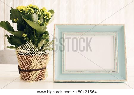 Blue Frame Mock Up, Digital Mockup, Display Mockup, Sea Styled Stock Photography Mockup, Colorful De