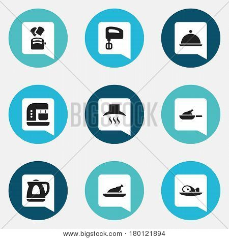 Set Of 9 Editable Cooking Icons. Includes Symbols Such As Agitator, Meat, Salver And More. Can Be Used For Web, Mobile, UI And Infographic Design.