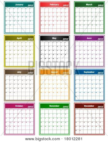 Calendar 2012 Assorted Colors