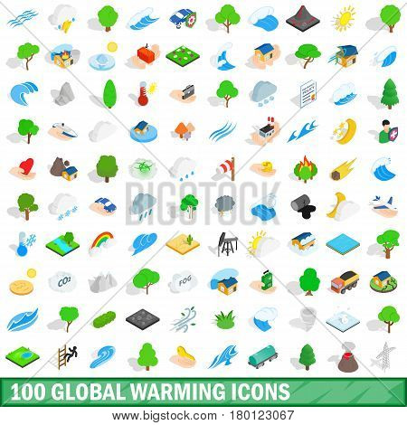 100 global warming icons set in isometric 3d style for any design vector illustration