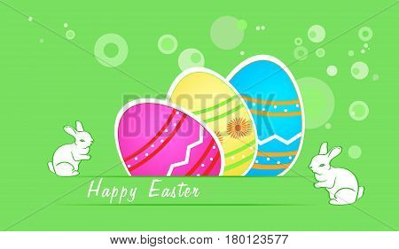 Easter greeting card with colorful eggs and bunny