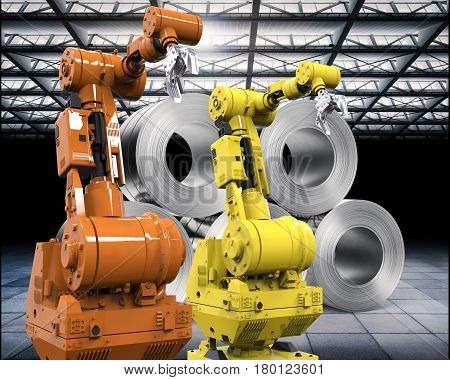 Robotic Arms With Roll Of Steel Sheets