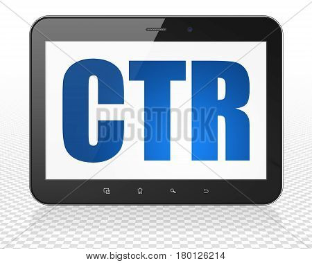 Business concept: Tablet Pc Computer with blue text CTR on display, 3D rendering