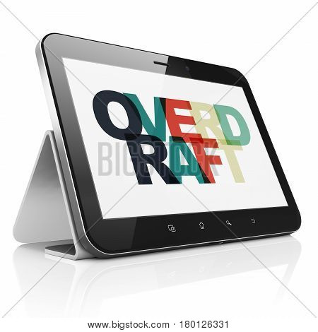 Business concept: Tablet Computer with Painted multicolor text Overdraft on display, 3D rendering