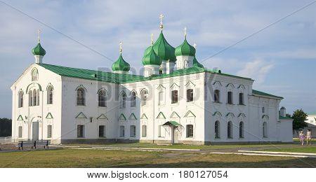 LENINGRAD REGION, RUSSIA - AUGUST 09, 2014: Transfiguration St Trinity Cathedral in Aleksandro-Svirskii monastery