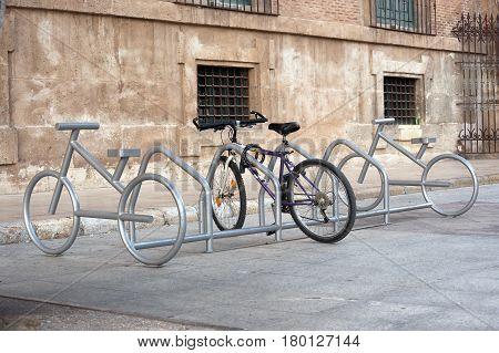 a bike parking place in Murcia, Spain