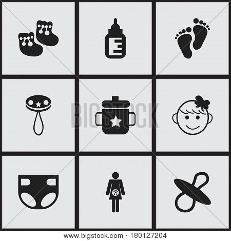 Set Of 9 Editable  Icons. Includes Symbols Such As Pregnancy, Nappy, Cheerful Child And More. Can Be Used For Web, Mobile, UI And Infographic Design.