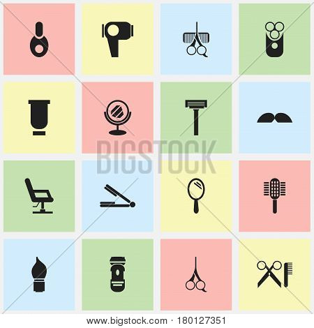 Set Of 16 Editable Tonsorial Artist Icons. Includes Symbols Such As Hair Drier, Peeper, Cut Tool And More. Can Be Used For Web, Mobile, UI And Infographic Design.