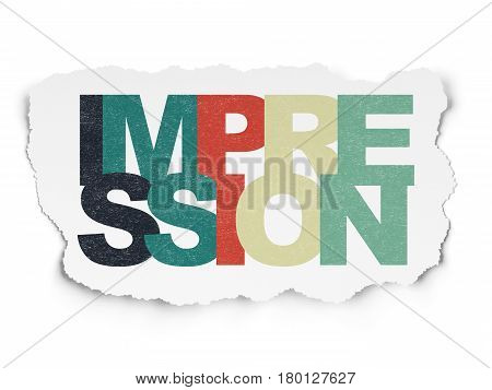 Marketing concept: Painted multicolor text Impression on Torn Paper background