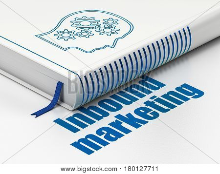 Marketing concept: closed book with Blue Head With Gears icon and text Inbound Marketing on floor, white background, 3D rendering