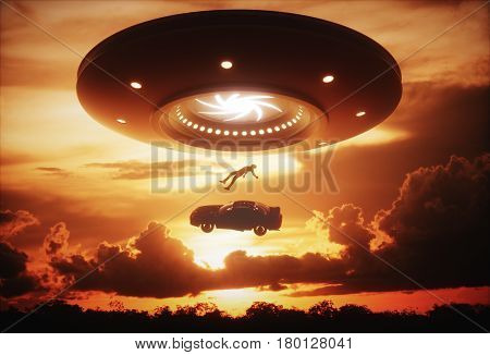 3D illustration. Man and his car floating to inside of alien ship. Concept of alien abduction.
