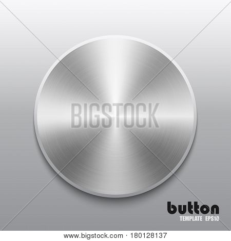 Template of round button with metal chrome texture isolated on gray scale background