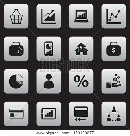 Set Of 16 Editable Logical Icons. Includes Symbols Such As Phone Statistics, Trading Purse, Cash Briefcase And More. Can Be Used For Web, Mobile, UI And Infographic Design.