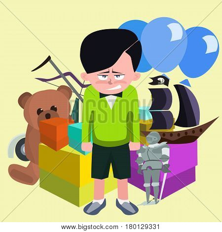 dissatisfied boy against pile of children's gifts - funny vector cartoon illustration