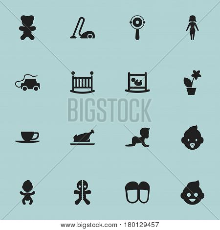 Set Of 16 Editable Folks Icons. Includes Symbols Such As Car, Rattle, Tea And More. Can Be Used For Web, Mobile, UI And Infographic Design.