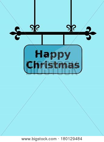 Grunge Happy Christmas on wrought iron sign board with copy space