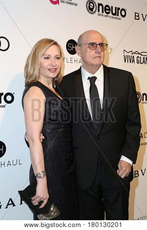LOS ANGELES - FEB 26:  Wife, Jeffrey Tambor at the Elton John Oscar Viewing Party 2017 at the City of West Hollywood Park on February 26, 2017 in West Hollywood, CA