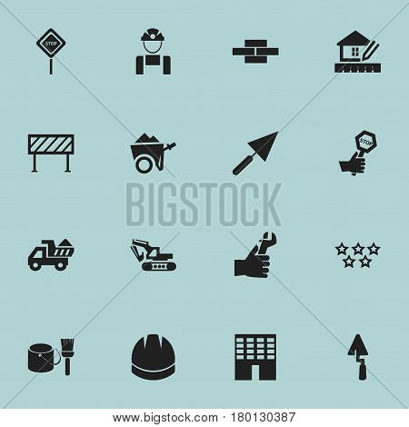 Set Of 16 Editable Construction Icons. Includes Symbols Such As Camion , Excavation Machine , Handcart. Can Be Used For Web, Mobile, UI And Infographic Design.