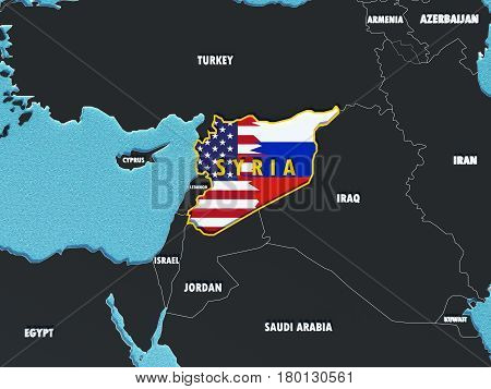 Usa And Russia Conflict And Disputes Over Situation In Syria - 3D Render