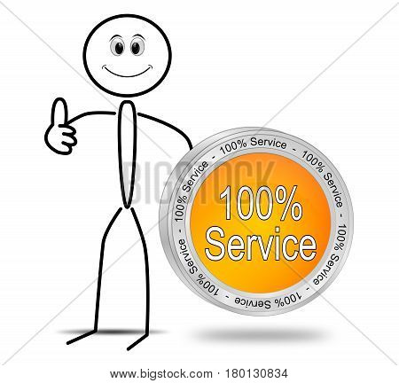 Stickman with orange 100% Service button - 3D illustration