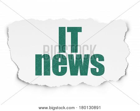 News concept: Painted green text IT News on Torn Paper background with Scheme Of Hand Drawn News Icons