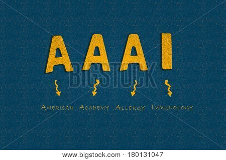 Abbreviation AAAI American Academy of Allergy and Immunology written on a blue background to understand a medical concept