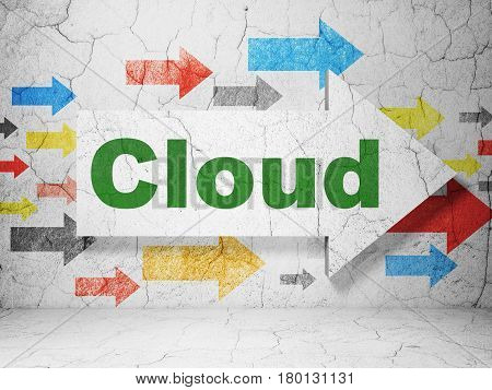 Cloud technology concept:  arrow with Cloud on grunge textured concrete wall background, 3D rendering