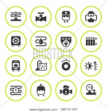 Set round icons of heating isolated on white. Vector illustration