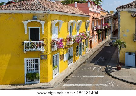 Colorful buildings in a street of the old city of Cartagena (Cartagena de Indias) in Colombia South America