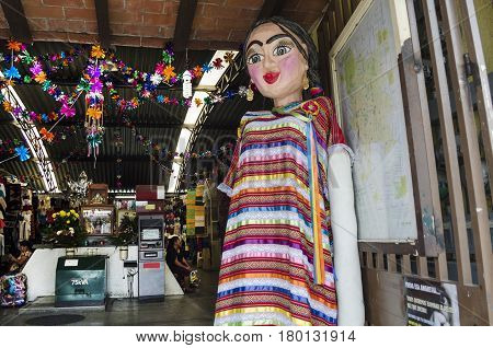 OAXACA, MEXICO- MARCH 11, 2017: Giant puppet with traditional clothes in Oaxaca, Mexico