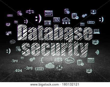 Software concept: Glowing text Database Security,  Hand Drawn Programming Icons in grunge dark room with Dirty Floor, black background