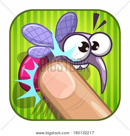 Funny comic app icon with squashed mosquito. Vector asset for web or game design. Isolated on white.